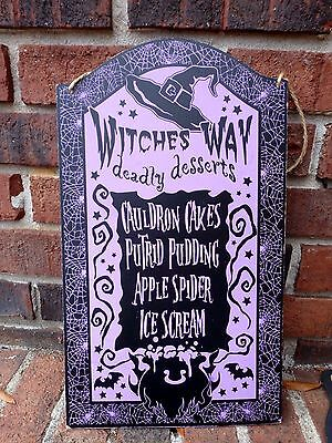 Witches Way Deadly Dessert Menu Kitchen Restaurant Wall Hanging Sign Halloween