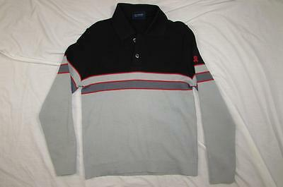 Vtg 70s Demetre Striped Ski Shirt Sweater Pure Virgin Wool Sz Small Mens Nice!