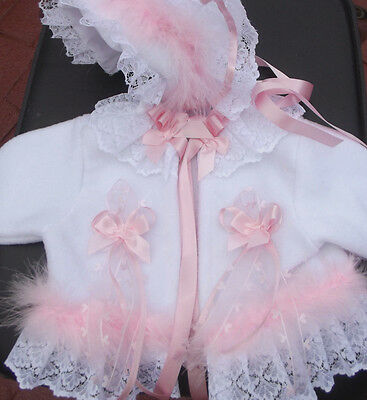 Dream 0  - 12  Months Baby White  Pink Trim Coat And  Bonnet  Or Reborn Dolls