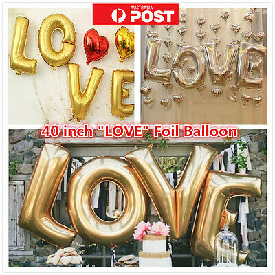 "Letter Foil Balloon "" LOVE "" Wedding Engagement Helium 40 inch 100cm Silver Gold"