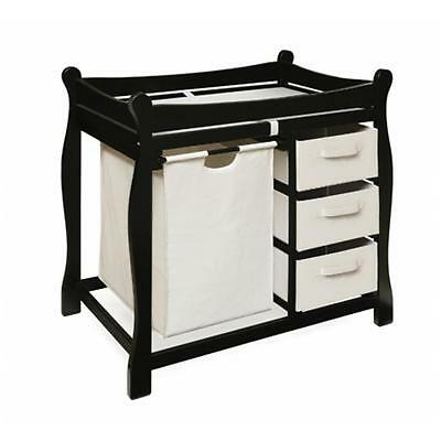 Badger Basket 02404 Black Sleigh Style Changing Table With Hamper-3 Baskets