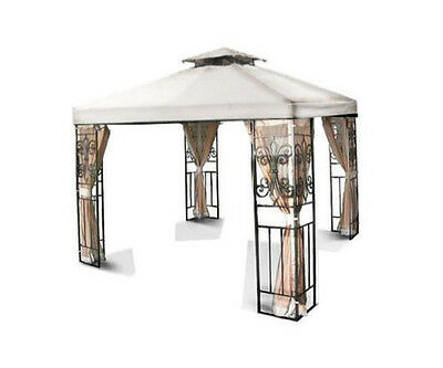 New 10'x10' Replacement Two-Tiered Garden Patio Gazebo Shade Canopy Top Ivory