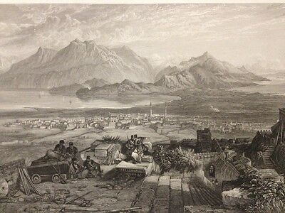 1850s Bible Engraving - The Town & Isthmus Of Corinth - S. Bough - W. Miller