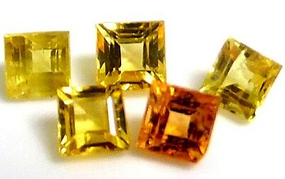 NATURAL GOLDEN YELLOW RED SAPPHIRE LOOSE GEMSTONE (3 pieces) SQUARE PRINCESS CUT