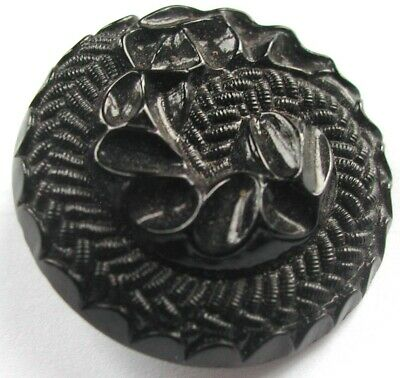 Modern Black Glass Fossil Design Button