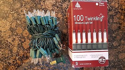 String Of 100 Twinkling Clear Color Miniature Lights With End to End Plugs