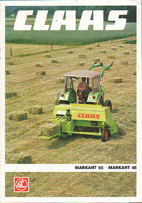 Claas Markant 55 and 45 Tractor Baler Brochure Leaflet