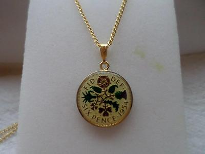 Vintage Enamelled Sixpence Coin Pendant & Necklace. Birthday Christmas Present