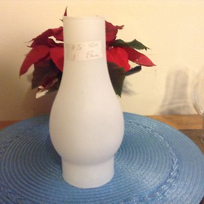 "FROSTED GLASS , OIL / ELECTRIC CHIMNEY 8.1/2"" Tall x 3 "" BASE  x 2 """"  Top"