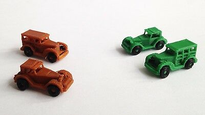 Outland Models Railway Vintage / Classic Auto Car Brown Green (4pcs) Set Z Scale