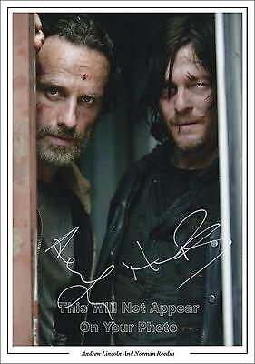 Walking Dead, Norman Reedus And Andrew Lincoln Signed Photo,1st Generation PP
