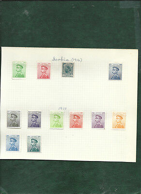Serbia 1911 Kingdom 12 old mint stamps MH on page