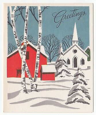 UNUSED Vintage Greeting Card Christmas Snowy Winter Scene Red Barn Church L16