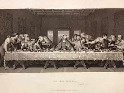 1850s Bible Engraving - The Last Supper - Leonardo Da Vinci - Freeman - Blackie