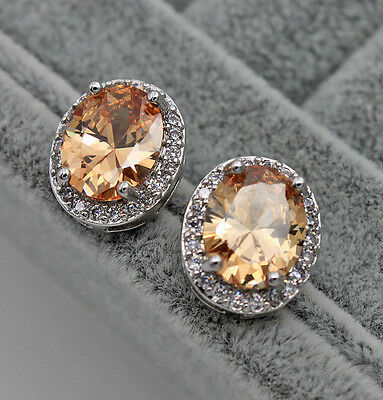 18K White Gold Filled - 8*10MM Morganite Oval Topaz Cocktail Earrings Jewelry
