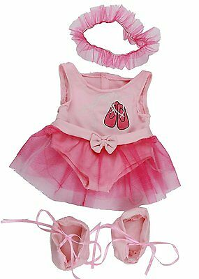 "Pink ballerina with tutu Teddy Bear Clothes to fit 15"" build a bear plush teddy"