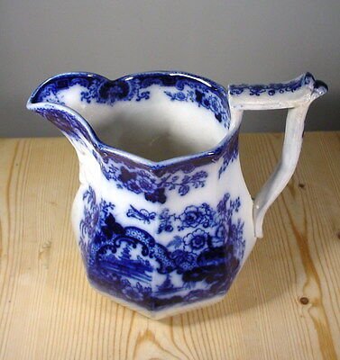 Antique Flow Blue Willow Pattern Water Jug