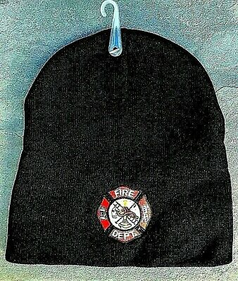 FIRE DEPARTMENT embroidered BEANIE Maltese Cross Acrylic Firefighter Beanie