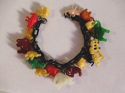 "Antique 1920-40 ""good Luck"" Elephant Charm Bracelet Jade/celluloid/glass/stone"