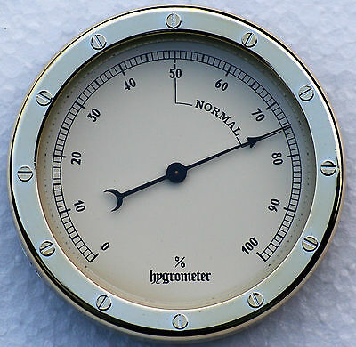Hygrometer Nautical Style 90mm diameter available with cream coloured dial.