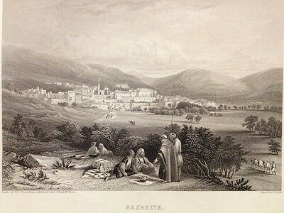 1850s Bible Engraving - Nazareth - H.C. Selous - Niven - Engraved by J. Sands