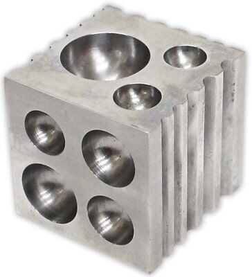 "2"" Dapping Block Square Jewelry Steel Cavities Round Dome Metal Forming Grooves"