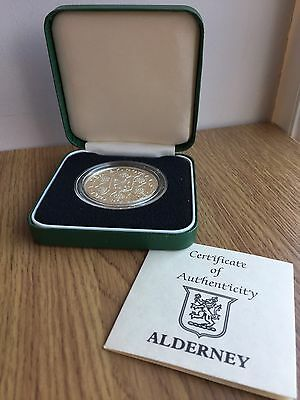 1989 Alderney Arms Silver Proof £2 Two Pound Coin COA and Box