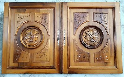 A Pair GOTHIC HEAD WARRIOR CABINET DOOR 28.9 IN ANTIQUE FRENCH CARVED WOOD PANEL