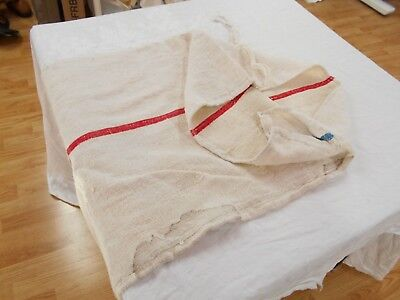 20x50 Vtg Antique RED STRIPE FRENCH HEMP LINEN Fabric FEED SACK GRAIN BAG