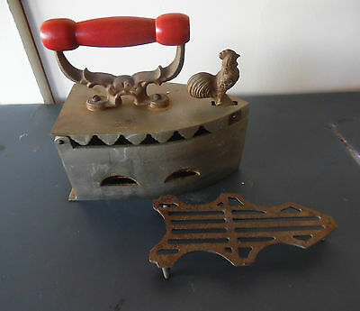 Antique Cast Iron Coal Sad Iron W/rooster Latch Wood Handle & Orig Stand