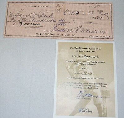 Ted Williams Signed Autographed Check Coa #10-3
