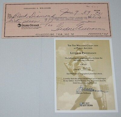 Ted Williams Signed Autographed Check Coa #527