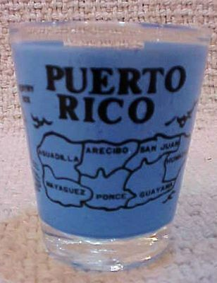 Puerto Rico blue map old shot glass Sentry Box Sugar Cane Cock Fight FREE S/H