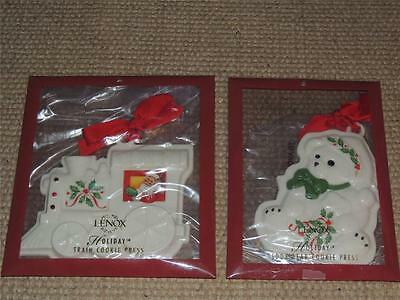 Lot Of 2 Lenox Holiday Cookie Press Mold Cutter Teddy Bear & Train Ornament