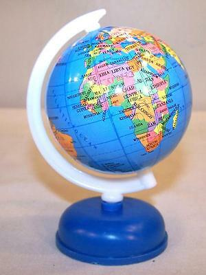 2 SMALL WORLD GLOBES ON STAND fund raiser earth globe map countrys maps new
