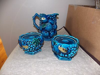 Inarco Blue Mood Indigo Small Pitcher + Candle Holders TLC