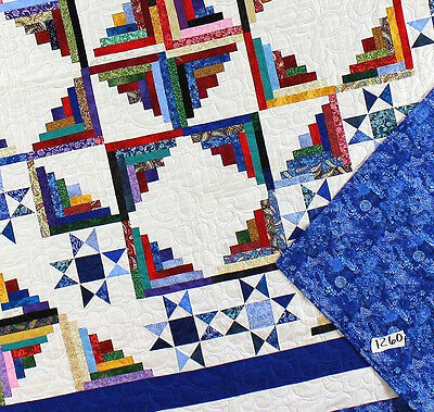 Log Cabin w/ Stars Scrap quilt design FINISHED QUILT - Great detailed quilting