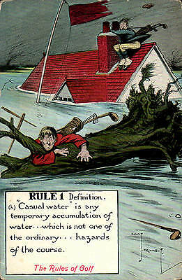 Golf Comic. Rule 1. Casual Water by Chas Crombie. Card by Valentine's.