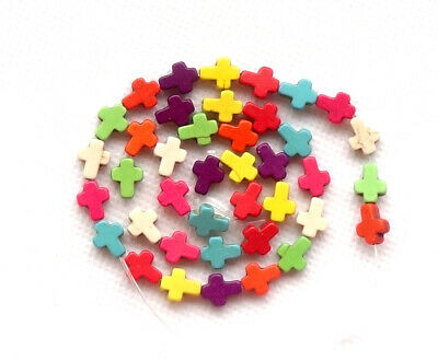 Multi-Color Turquoise Cross Beads Charm Stone Spacer Jewelry Finding 10x8mm