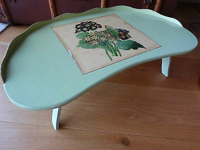 Vintage/Retro Green Wooden Painted Shabby Chic Folding Table / Tray