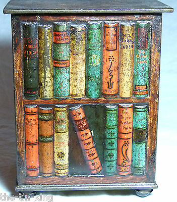 "SUPERB RARE HUNTLEY&PALMERS BOOKS ""BOOKSTAND"" FIGURAL BISCUIT TINS C1905 library"