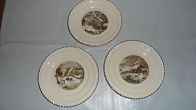 Harkerware Currier & Ives three 6 1/4 inch collector's plates.