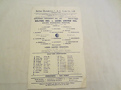 1963-64 CENTRAL LEAGUE RESERVES BOLTON WANDERERS v LEEDS UNITED