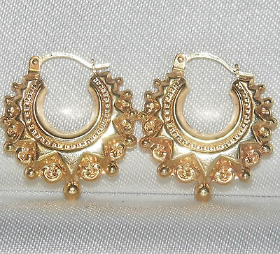 9ct Yellow Gold Victorian Design Spiked Ladies Detailed Creole Hoop Earrings