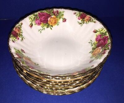 Set of 8 Royal Albert England Old Country Roses Bone China Soup or Cereal Bowls