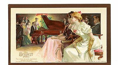 Victorian Trade Card EVERETT PIANO Women at a concert