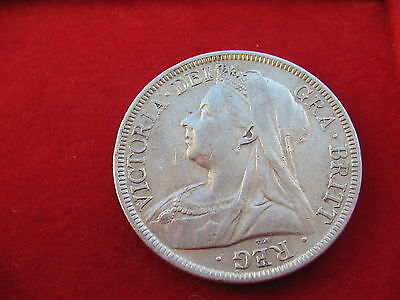 1899 Queen Victoria Widow Head Silver Half Crown  Nice