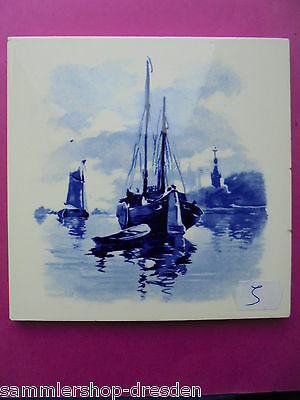 21069-5 Kachel Fliese blauweiß Schiffe SOMAG gut tile wind mill good boats blue