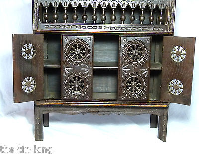 Large French Doll House/bears Miniature Antique Court Cupboard Closed Bed Breton