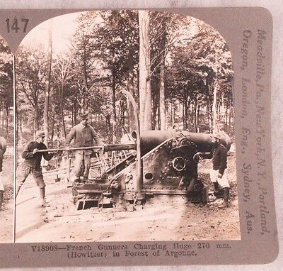 WWI Stereoview card:  French 270mm Howitzer